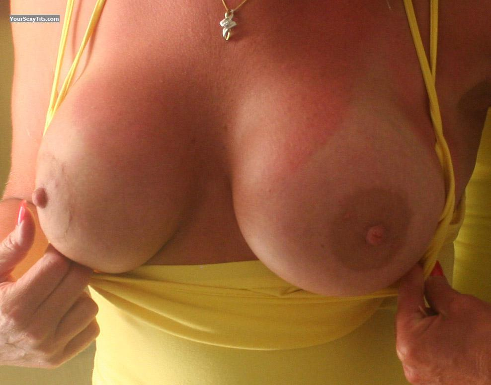 Tit Flash: Wife's Tanlined Big Tits - Amber from United States