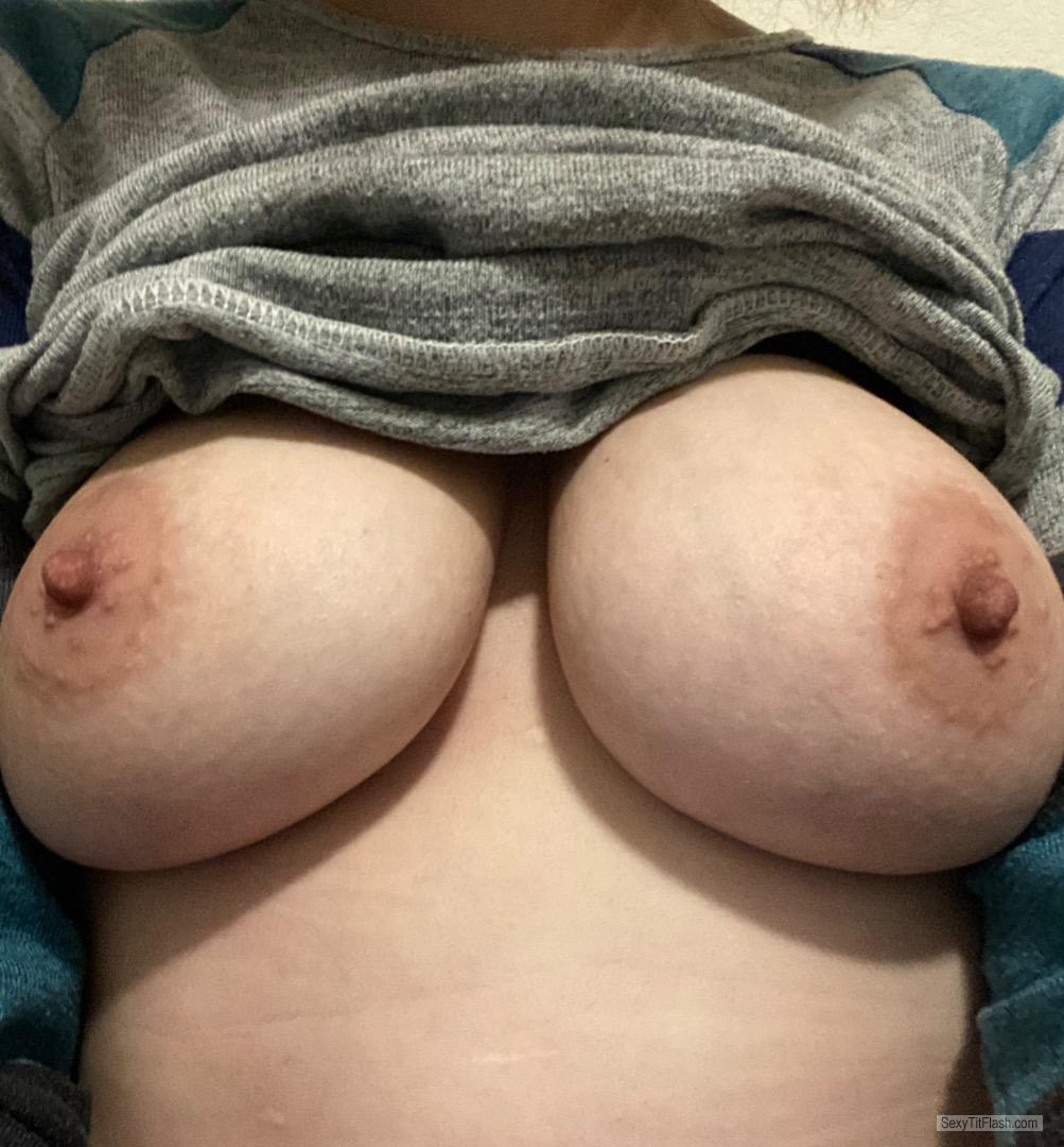 Tit Flash: My Big Tits (Selfie) - Hard Nips from United States