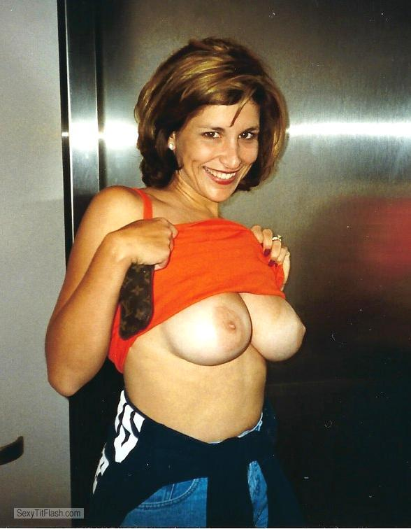 Tit Flash: Wife's Tanlined Big Tits - Topless Hot Elevator Flasher from United Kingdom