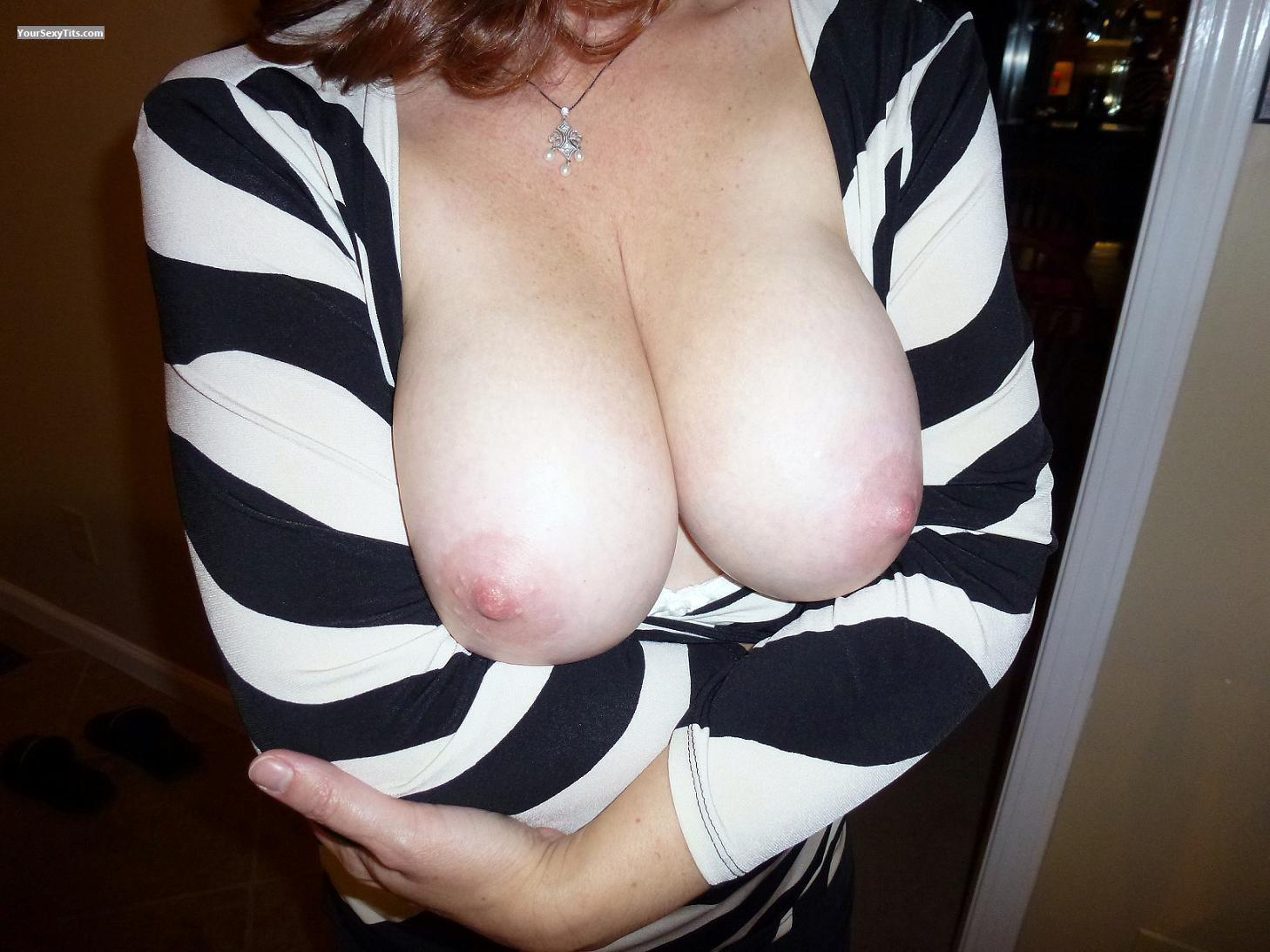 Tit Flash: Wife's Big Tits - Slightly Shy from United States