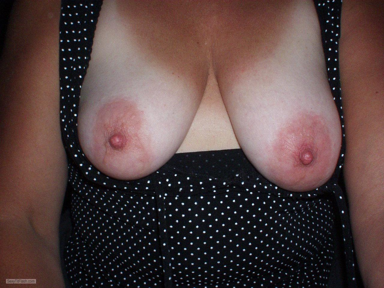 Tit Flash: Wife's Big Tits With Strong Tanlines - Pam69 from United States