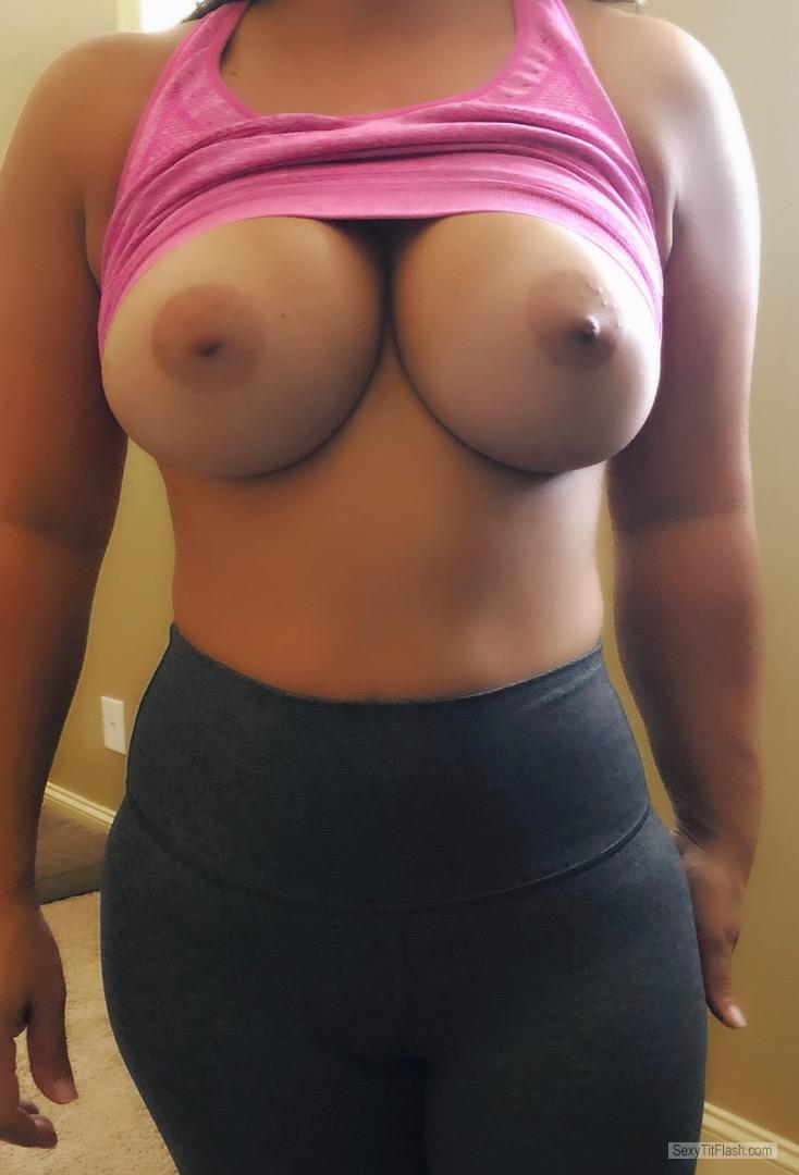 Tit Flash: Wife's Big Tits - Workout Tits from United States