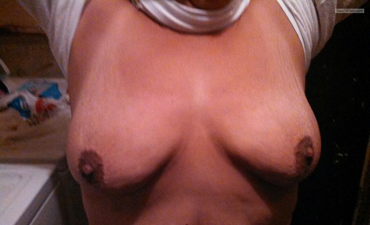 Tit Flash: Wife's Tanlined Big Tits - Karentits from United States