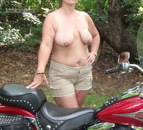 Tit Flash: Wife's Medium Tits - Sunday Ride from United States