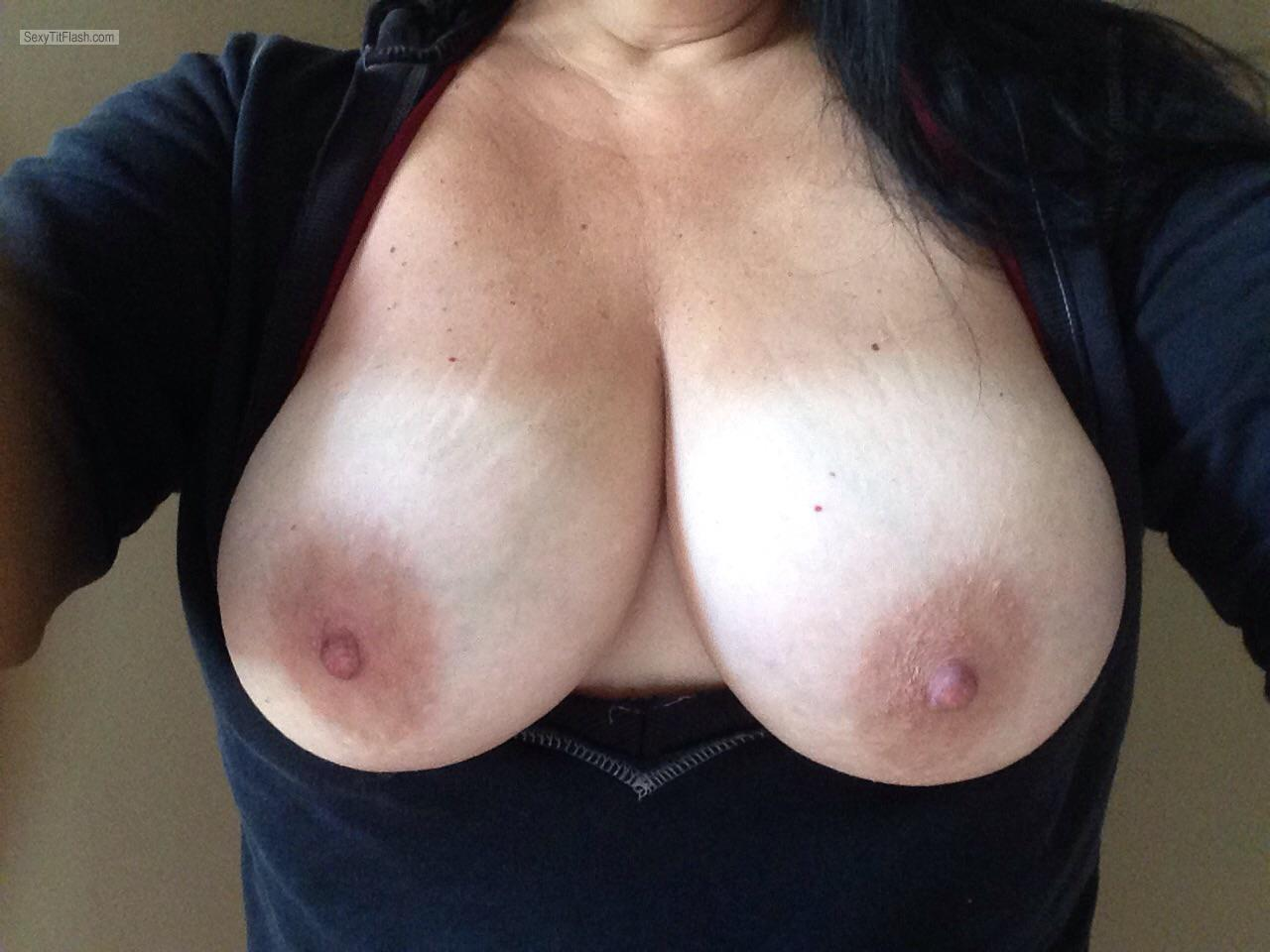 Tit Flash: My Tanlined Big Tits (Selfie) - Sexy Slut from United States