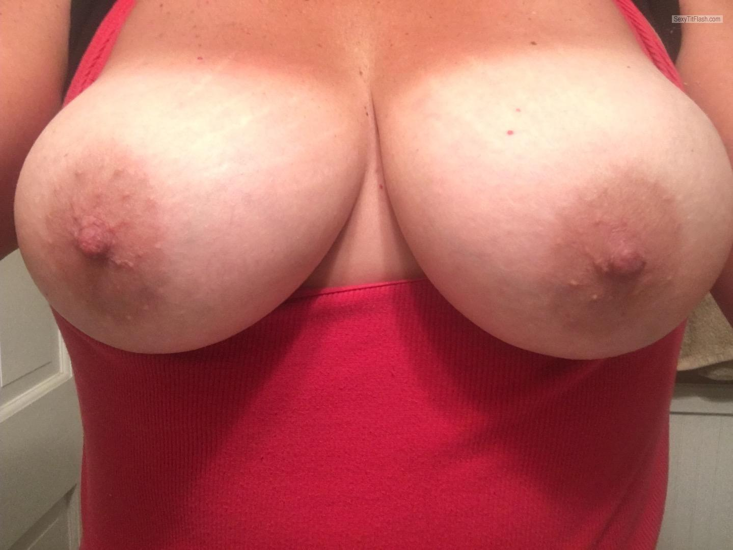 Tit Flash: My Tanlined Big Tits (Selfie) - Shan from United States