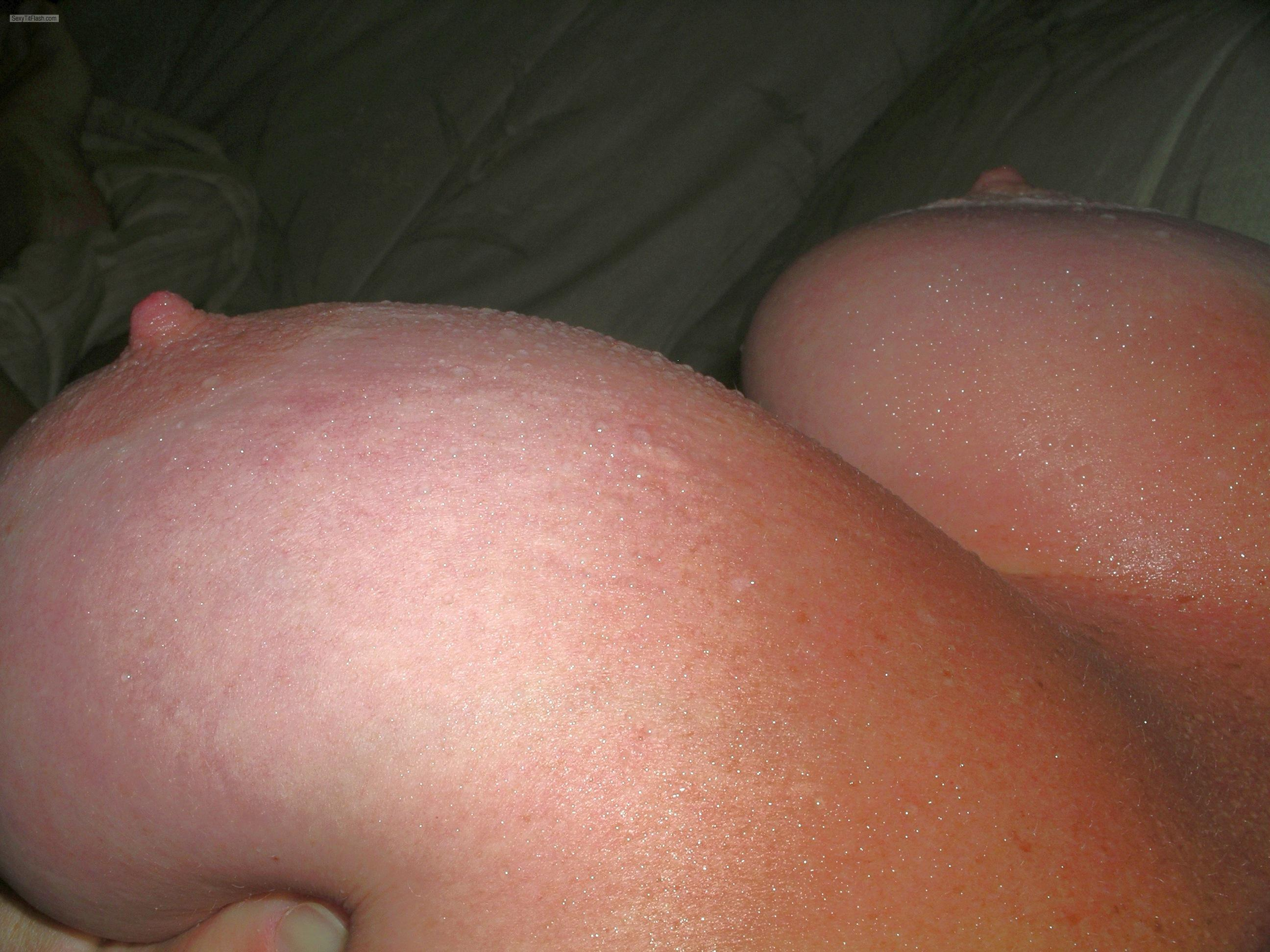 Tit Flash: Wife's Tanlined Big Tits - Big T from United States
