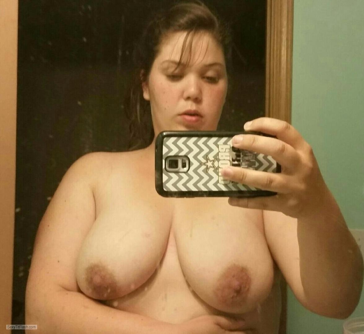 Tit Flash: My Big Tits (Selfie) - Topless Jenny from United States