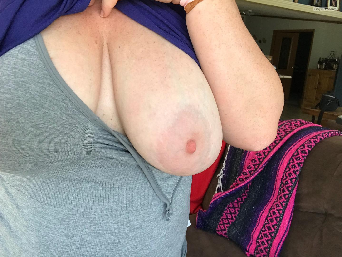 Tit Flash: Wife's Big Tits (Selfie) - Red Head Wife from United States
