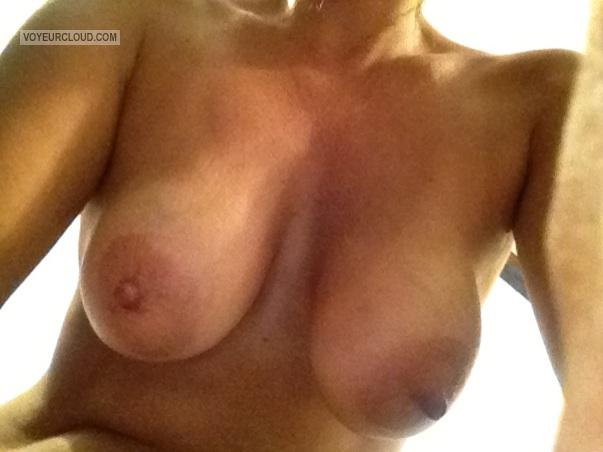 Tit Flash: Wife's Tanlined Medium Tits - Vegas Milf Laura from United States