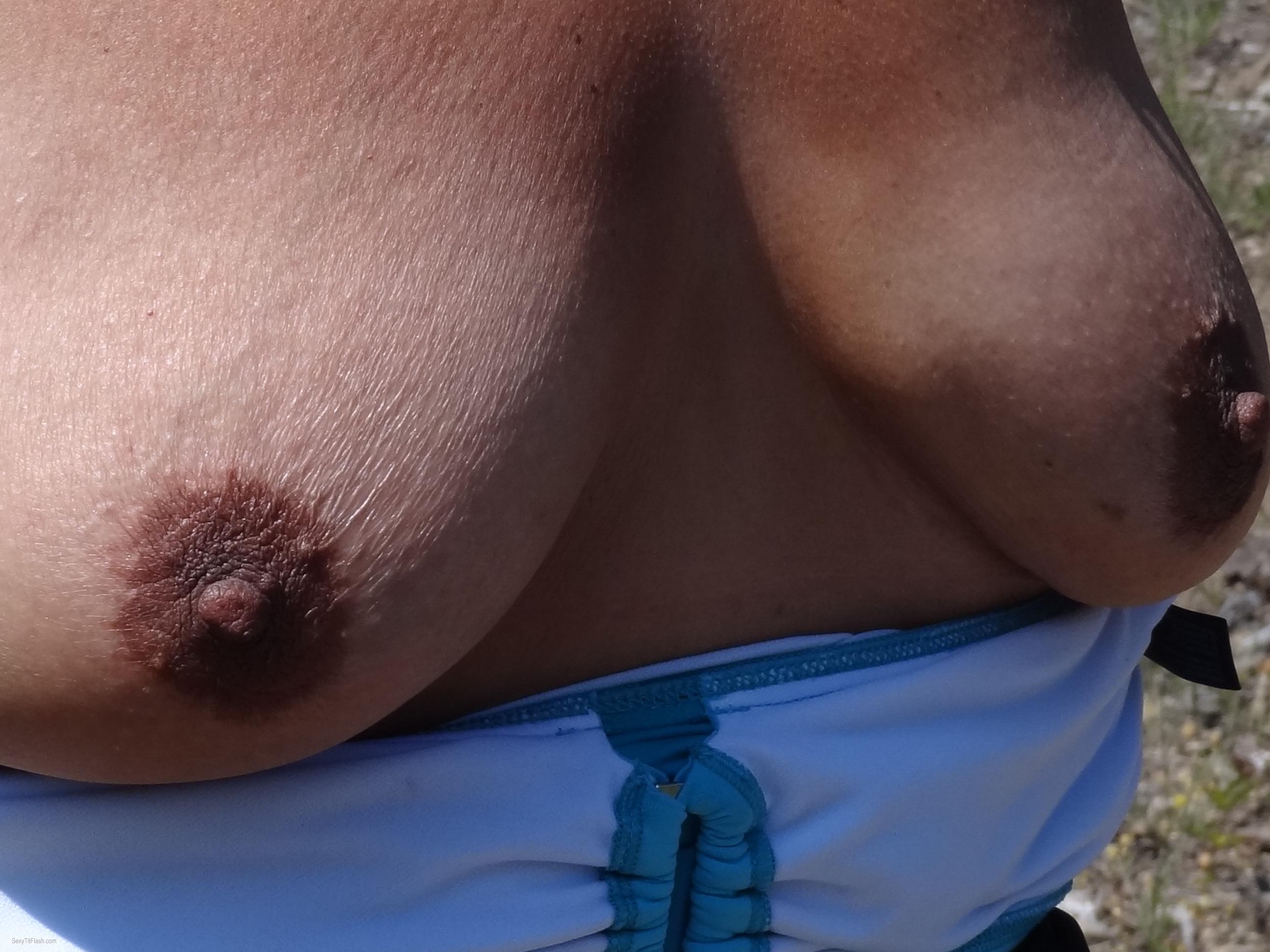 Tit Flash: Wife's Tanlined Medium Tits - Karentits from United States