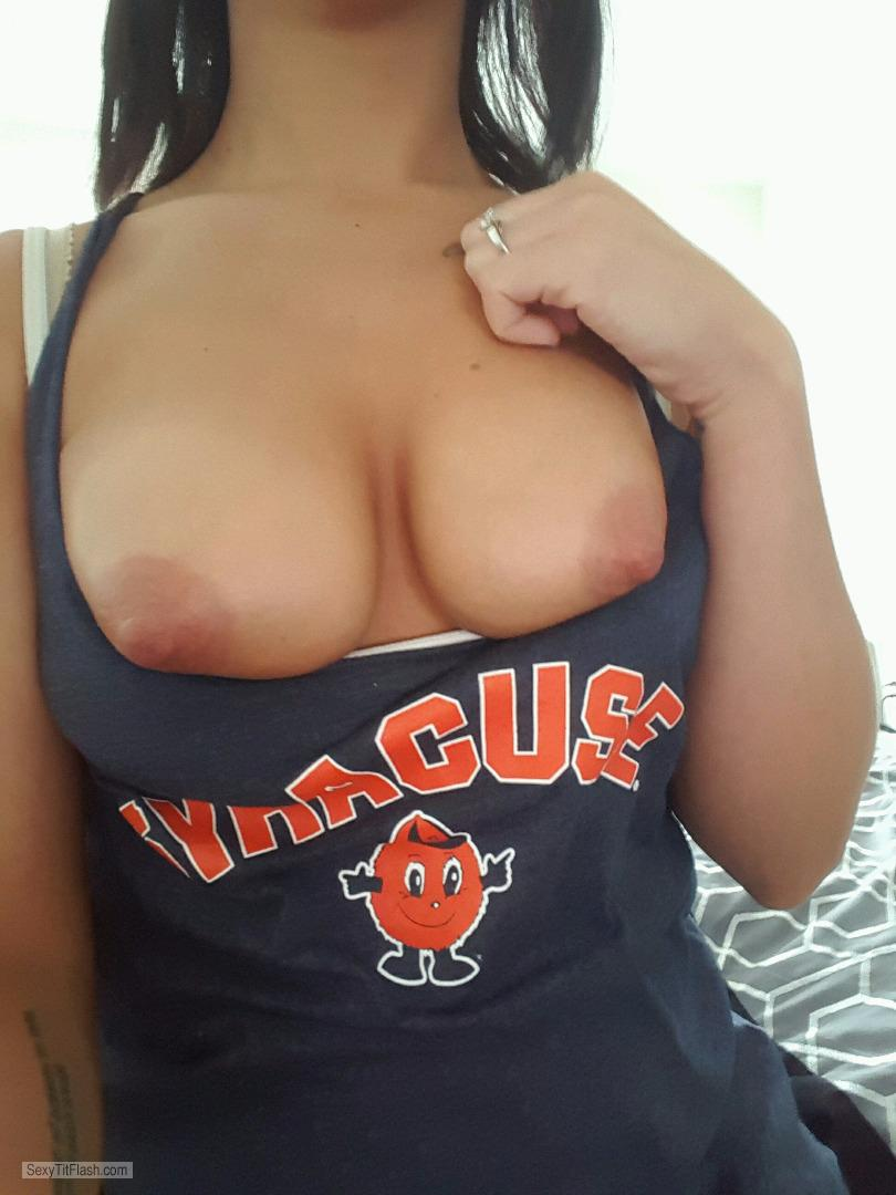 Tit Flash: My Big Tits (Selfie) - Topless Pregnant Wife from United States