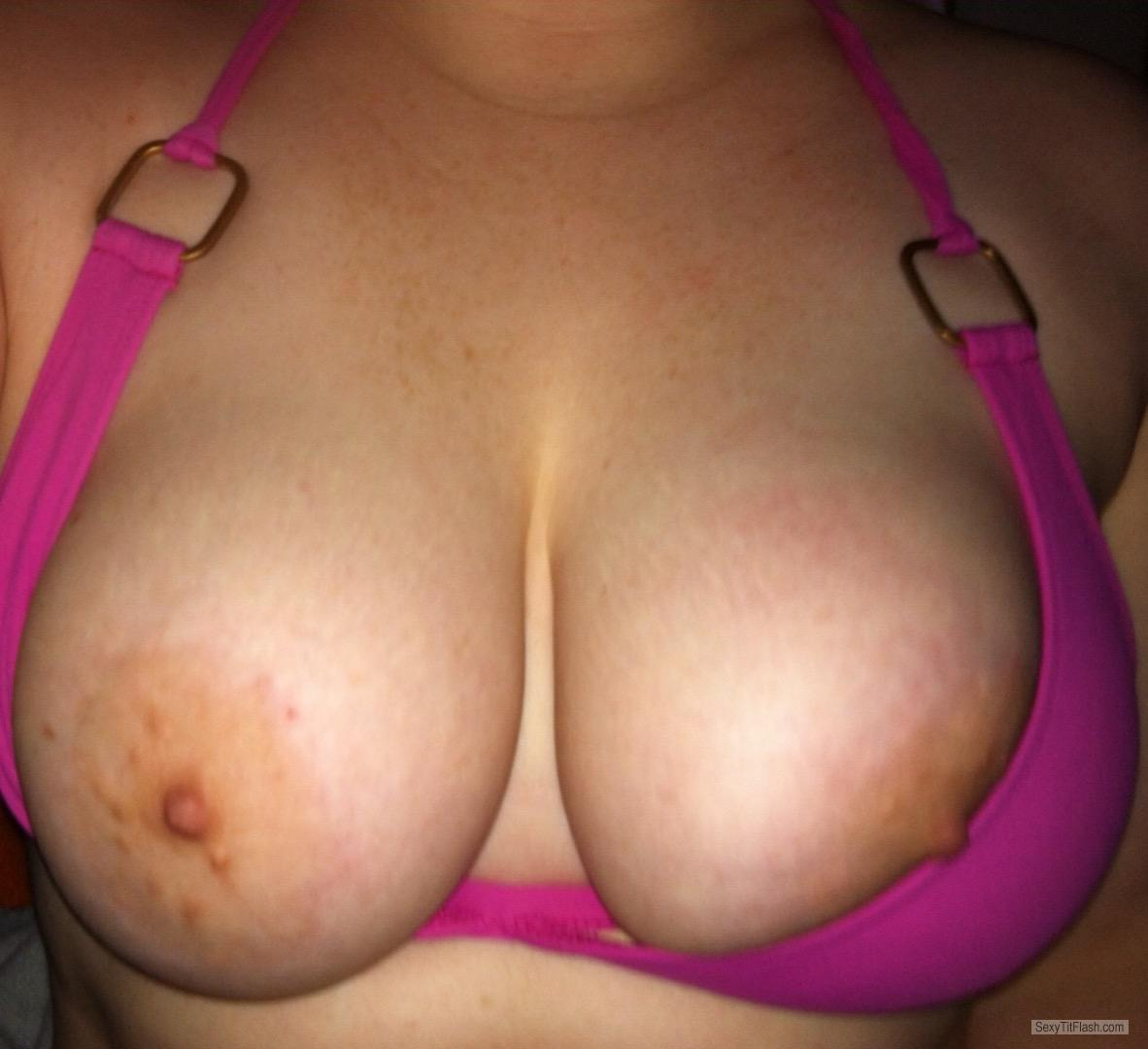 Tit Flash: Girlfriend's Big Tits - Sweet Areolas from United Kingdom