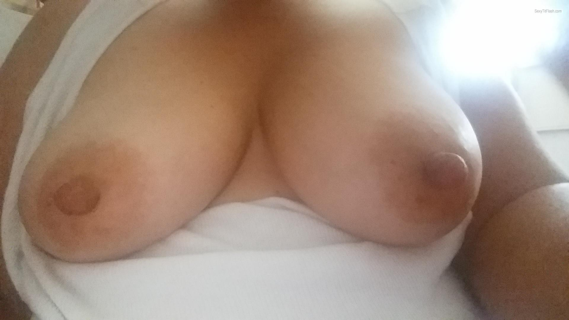 Tit Flash: Wife's Big Tits (Selfie) - Hotwife from United States