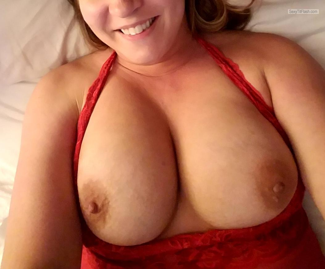 Tit Flash: My Big Tits (Selfie) - Red Lingerie from United States