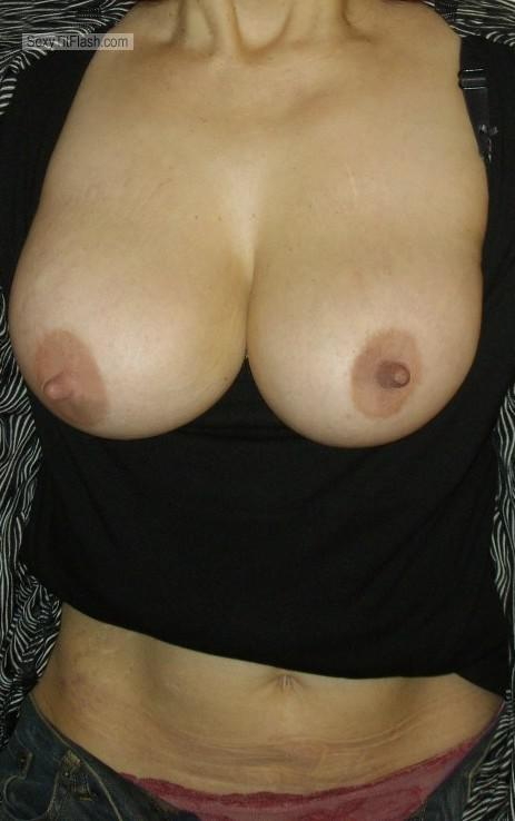 Tit Flash: Wife's Medium Tits - LOLA from Spain