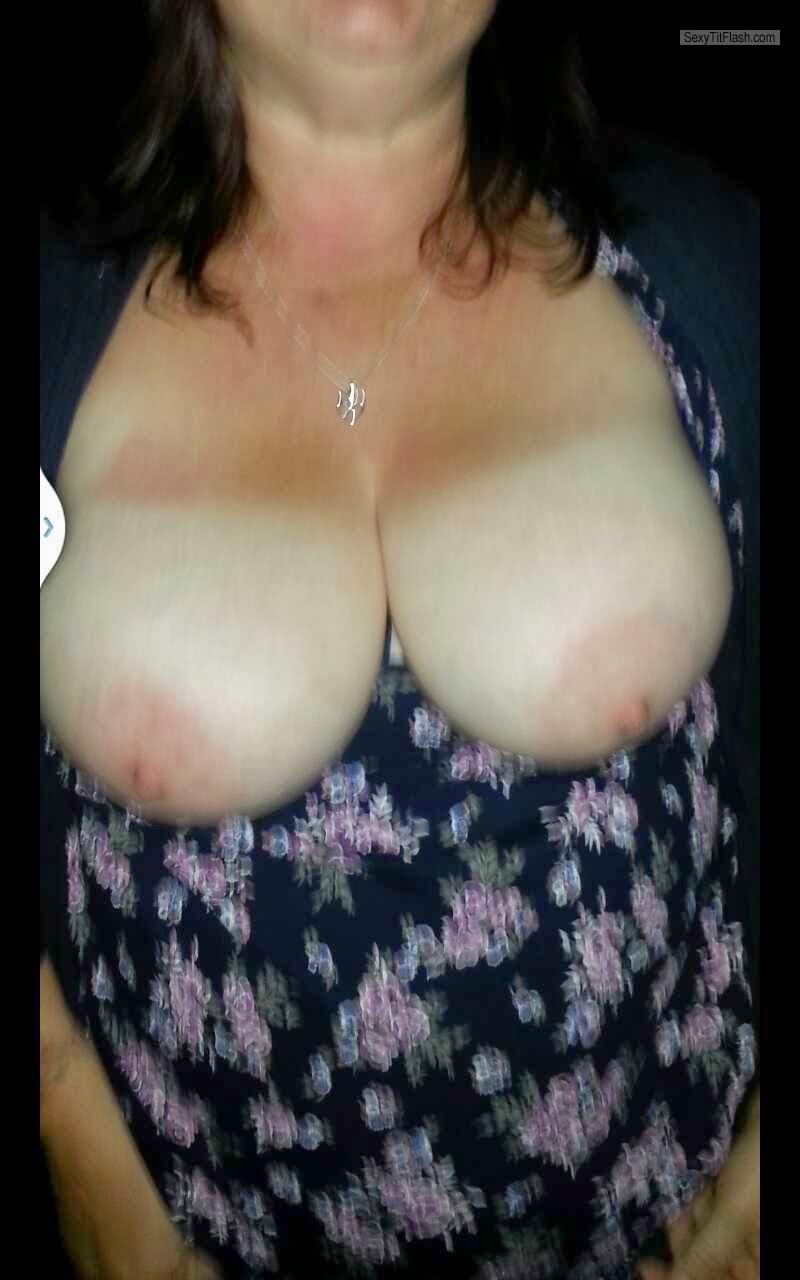 Tit Flash: Wife's Tanlined Big Tits - Bbw Wife Titflash from United Kingdom