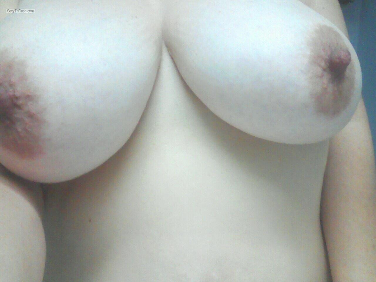 Tit Flash: My Friend's Big Tits (Selfie) - Topless Hot Housewife Houston from United Kingdom