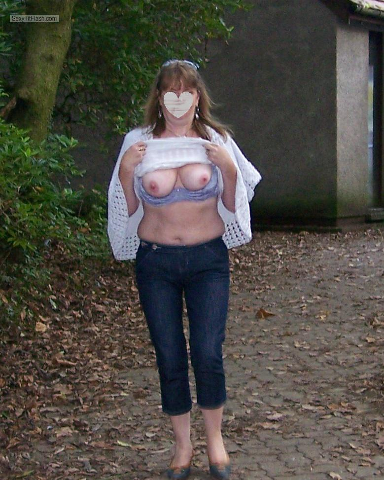 Tit Flash: Wife's Medium Tits - Parklover from United Kingdom