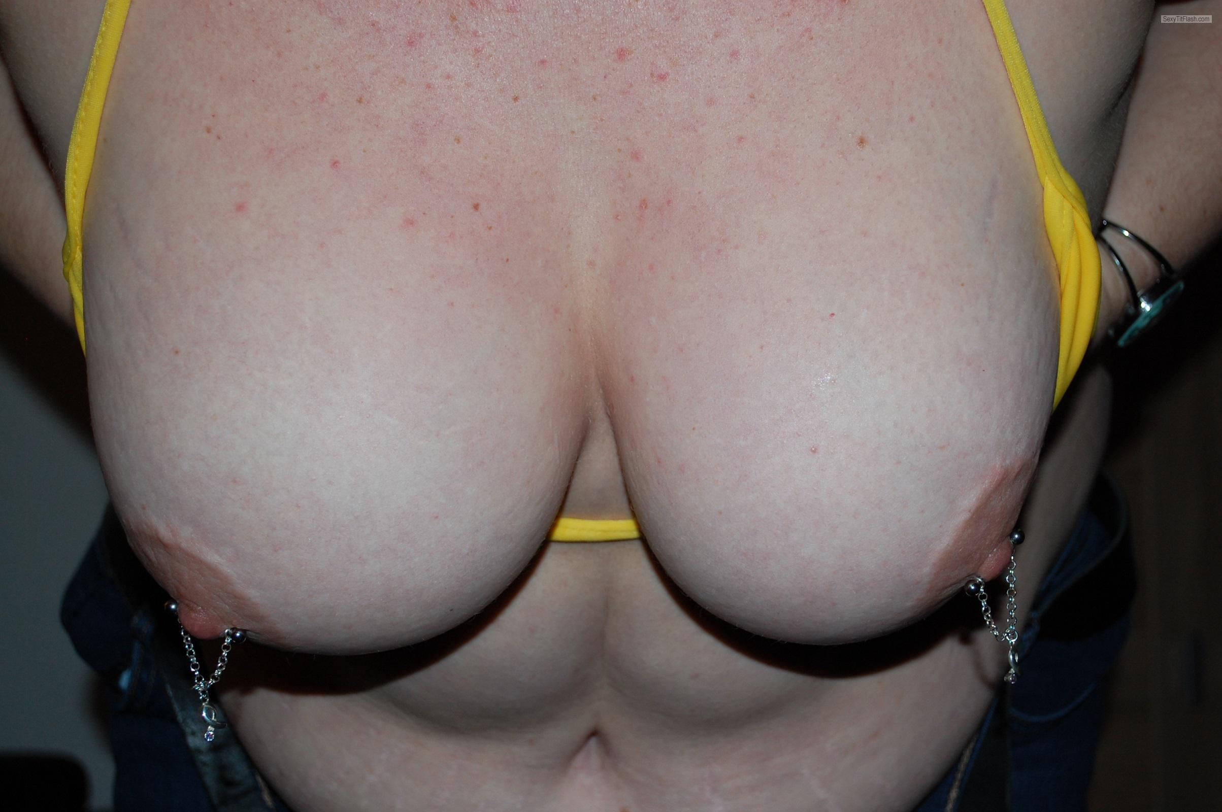 Tit Flash: Girlfriend's Big Tits - J. from NetherlandsPierced Nipples