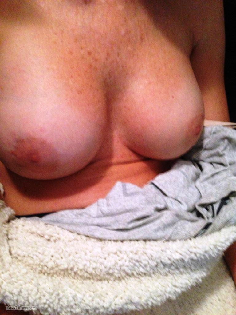 Tit Flash: Wife's Tanlined Medium Tits - JD from United States