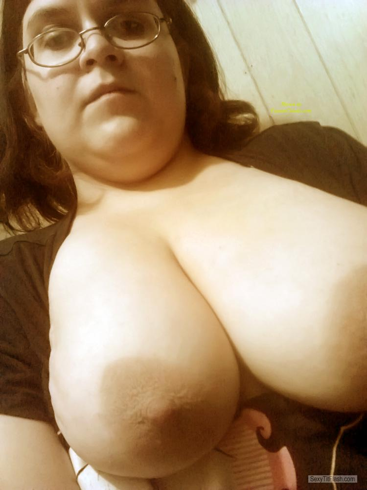 Tit Flash: My Friend's Big Tits (Selfie) - Topless Molz from United States