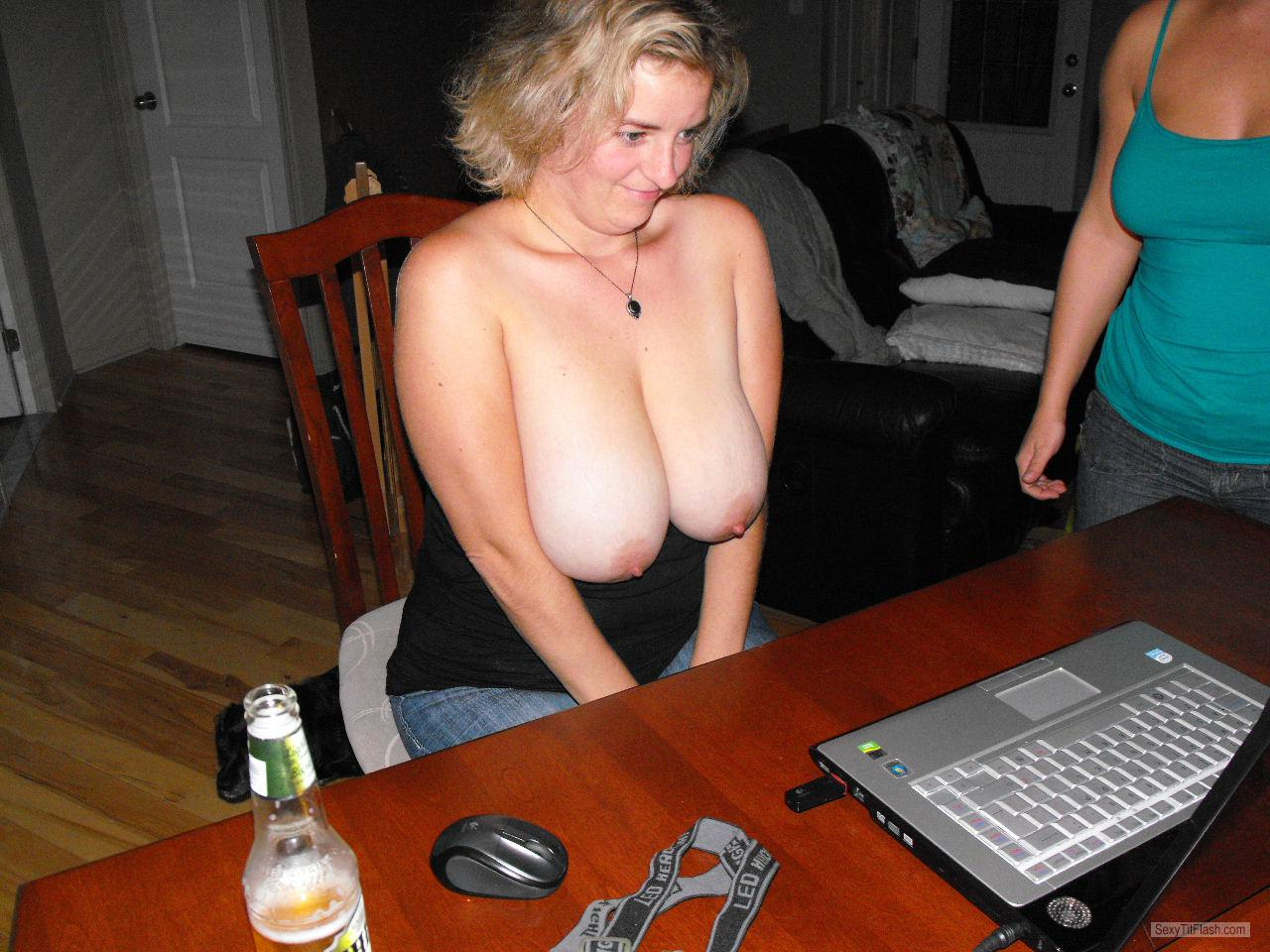 Tit Flash: My Big Tits - Topless Stef from United States