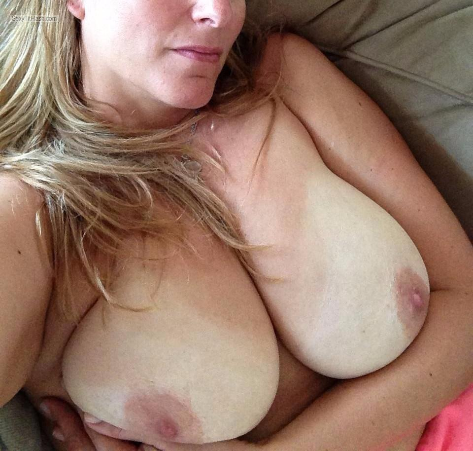 Tit Flash: My Friend's Big Tits With Strong Tanlines (Selfie) - Friend from United Kingdom