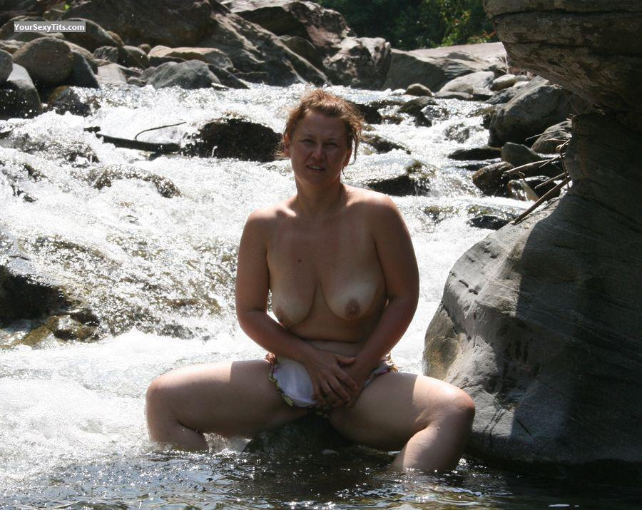 Tit Flash: Big Tits - Topless Yvonne from Germany