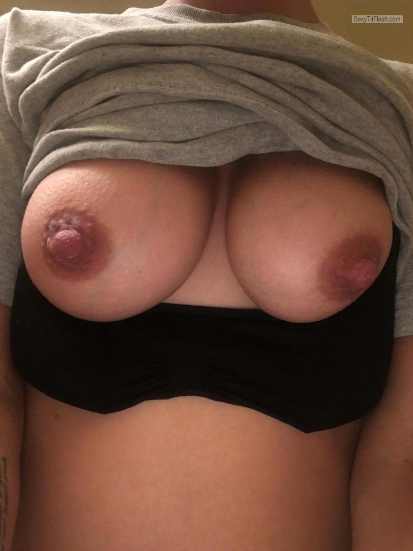 Tit Flash: Wife's Tanlined Big Tits (Selfie) - Pregnant Wife from United States