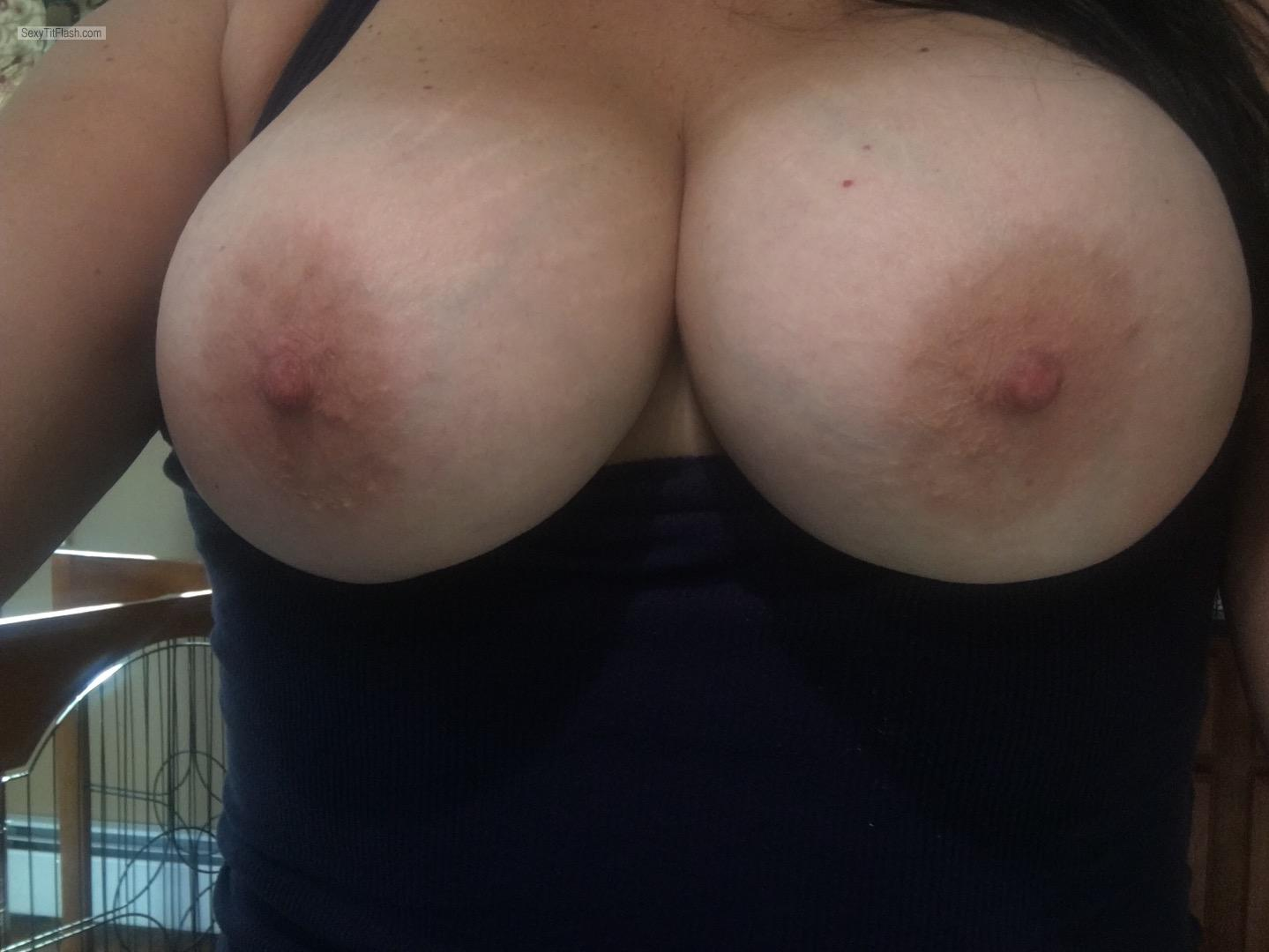 Tit Flash: My Tanlined Big Tits - Topless Shannon from United States