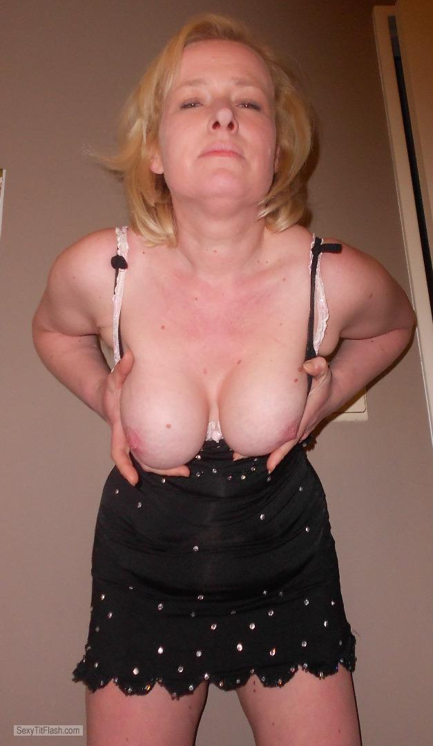 Tit Flash: Wife's Big Tits - Topless Philomena from Belgium