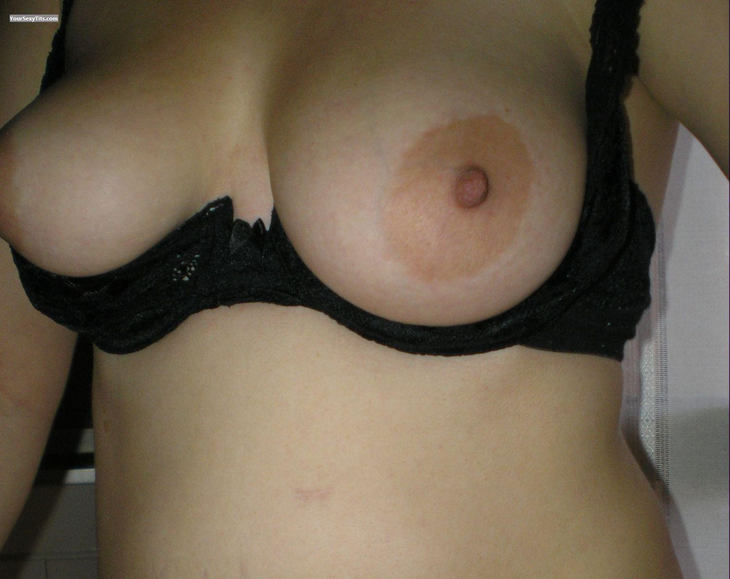 Tit Flash: Big Tits - Topless Unknown Lady from Italy