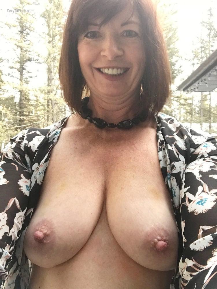 Tit Flash: Wife's Big Tits (Selfie) - Topless Karen's Tits from United Kingdom