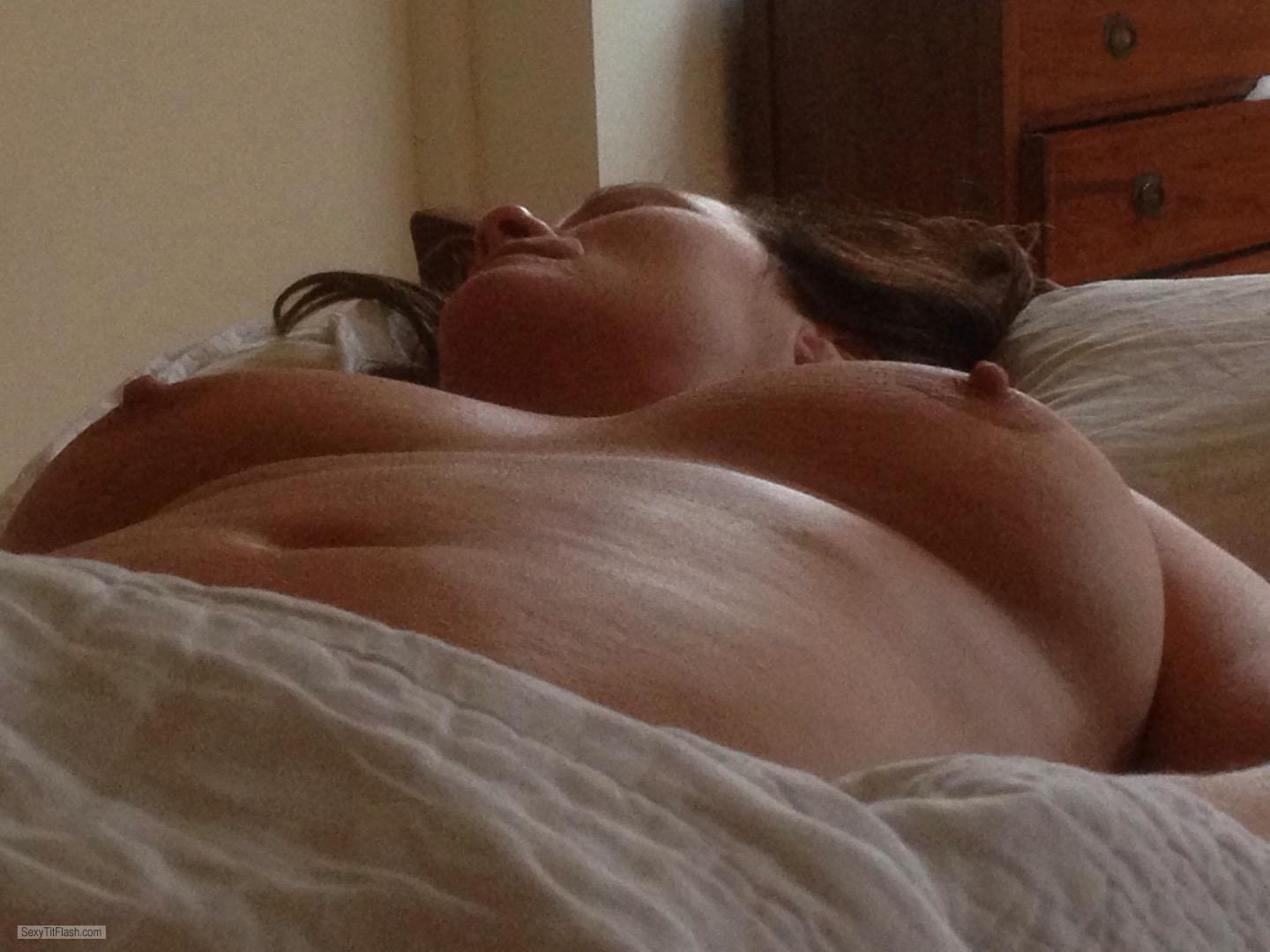 Tit Flash: My Big Tits - Topless 53 Year Old from United Kingdom