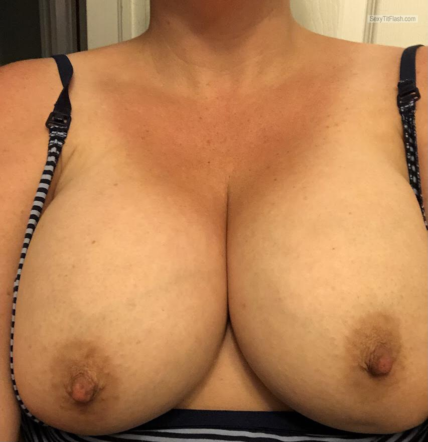 Tit Flash: Wife's Tanlined Big Tits (Selfie) - Sexy Wife from Canada