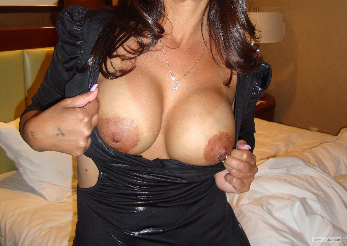 Tit Flash: Wife's Big Tits - Raquel71 from United StatesPierced Nipples