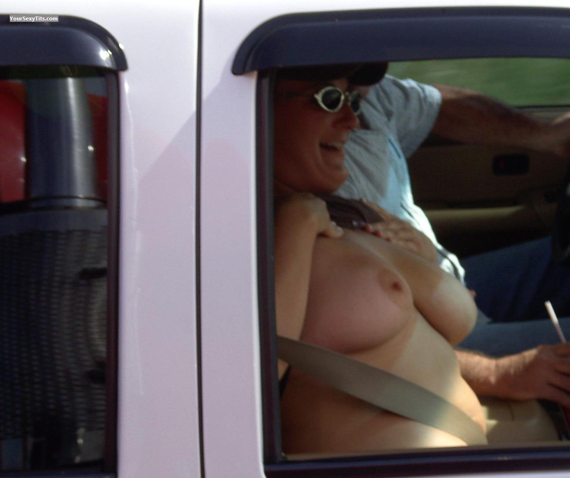 Tit Flash: Big Tits - Topless Up&out from United States