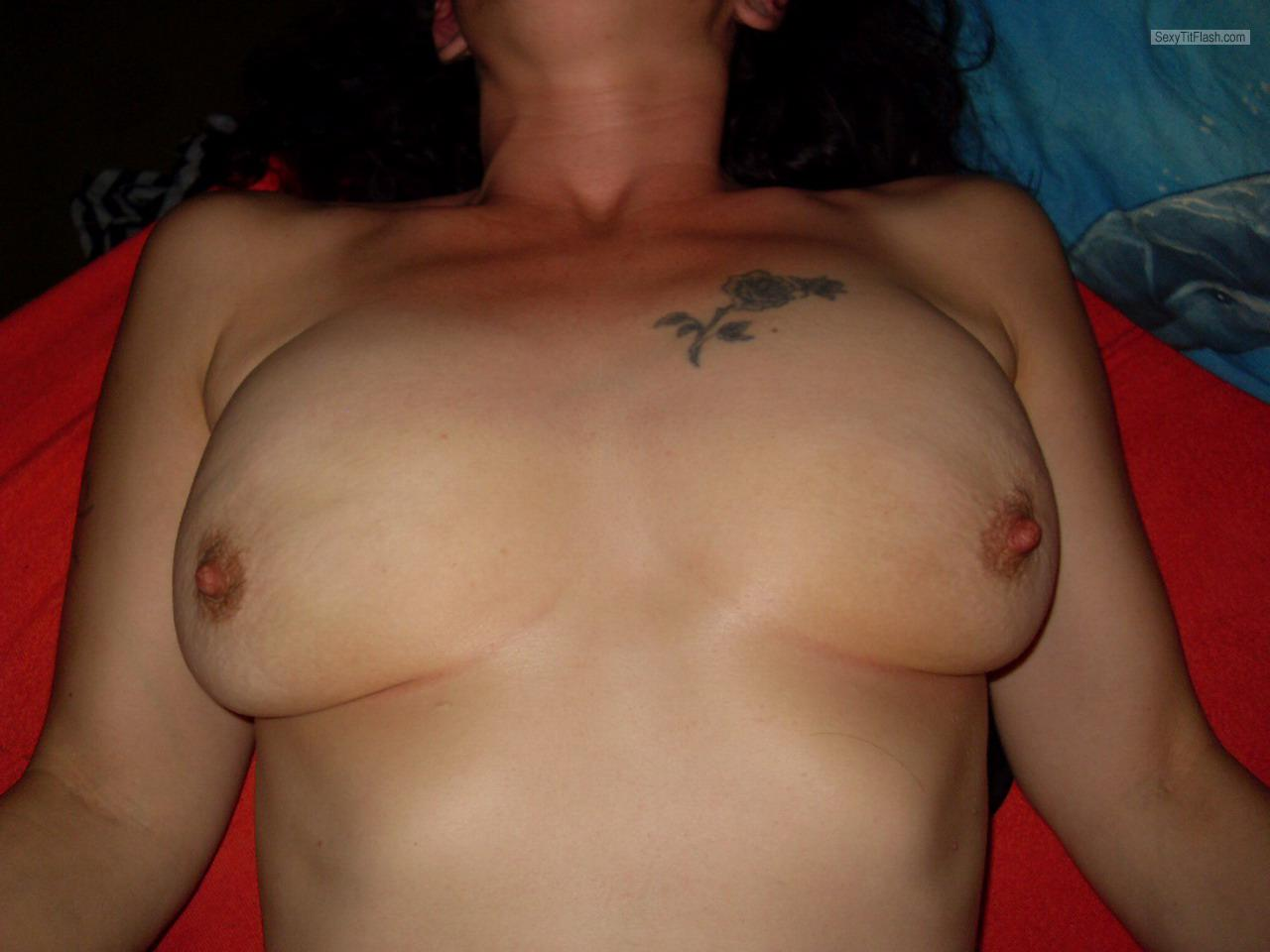 Tit Flash: Room Mate's Medium Tits - Mischelle from Switzerland