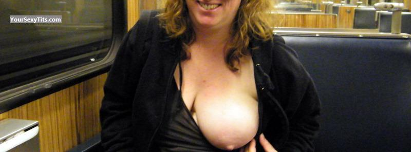 Tit Flash: Big Tits - Braless from United Kingdom