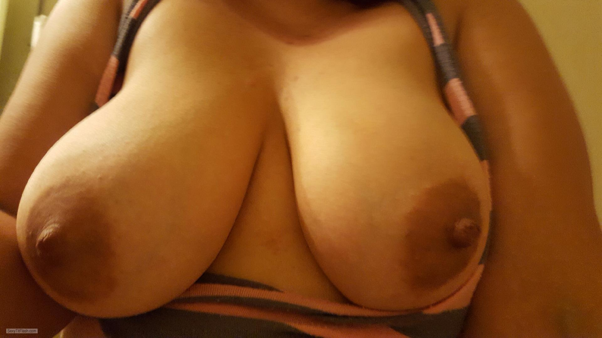 Tit Flash: Wife's Big Tits (Selfie) - Bako from United States