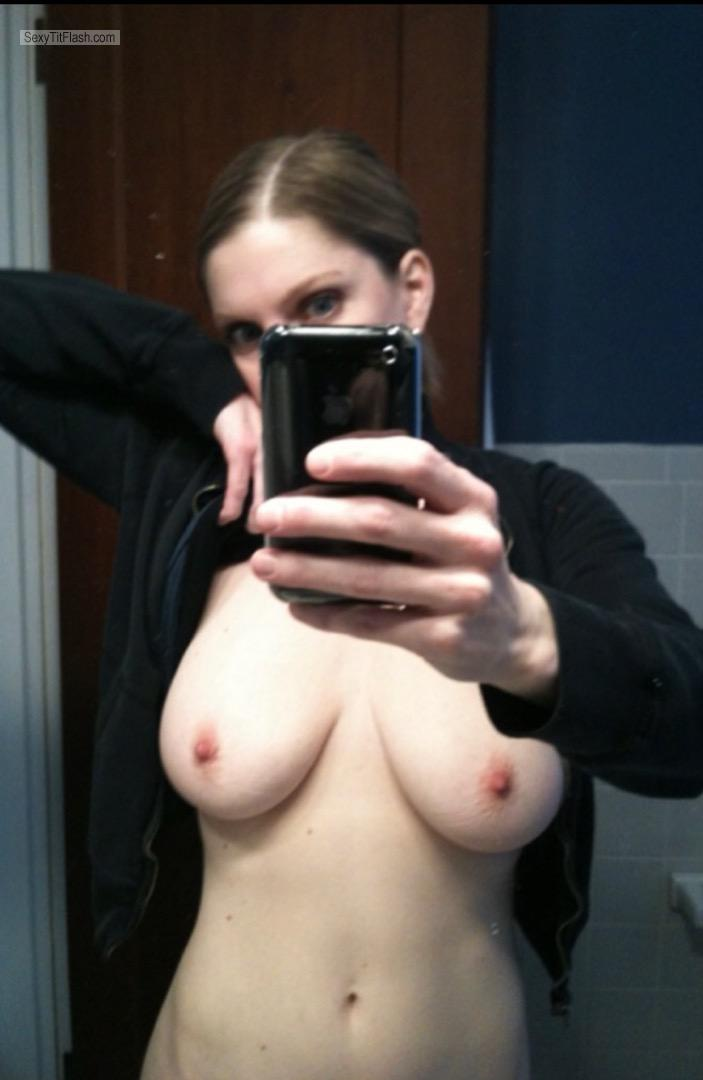 Tit Flash: My Big Tits (Selfie) - Topless Pale Annie from France