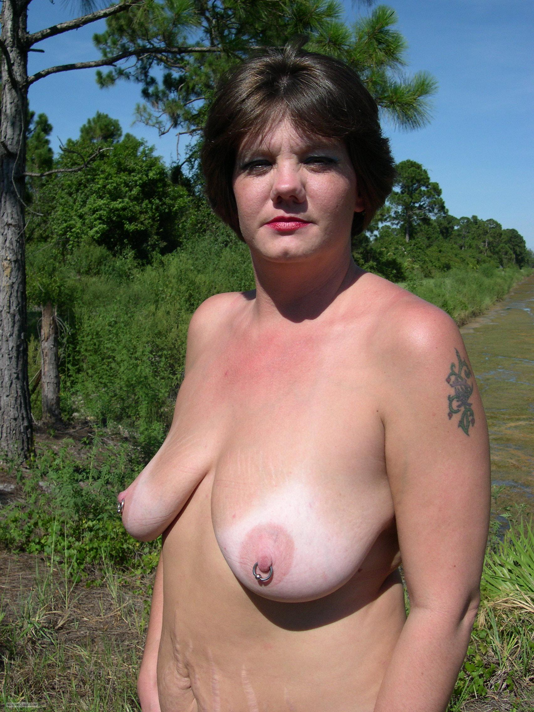 Tit Flash: My Tanlined Big Tits - Topless Tricity from United StatesPierced Nipples