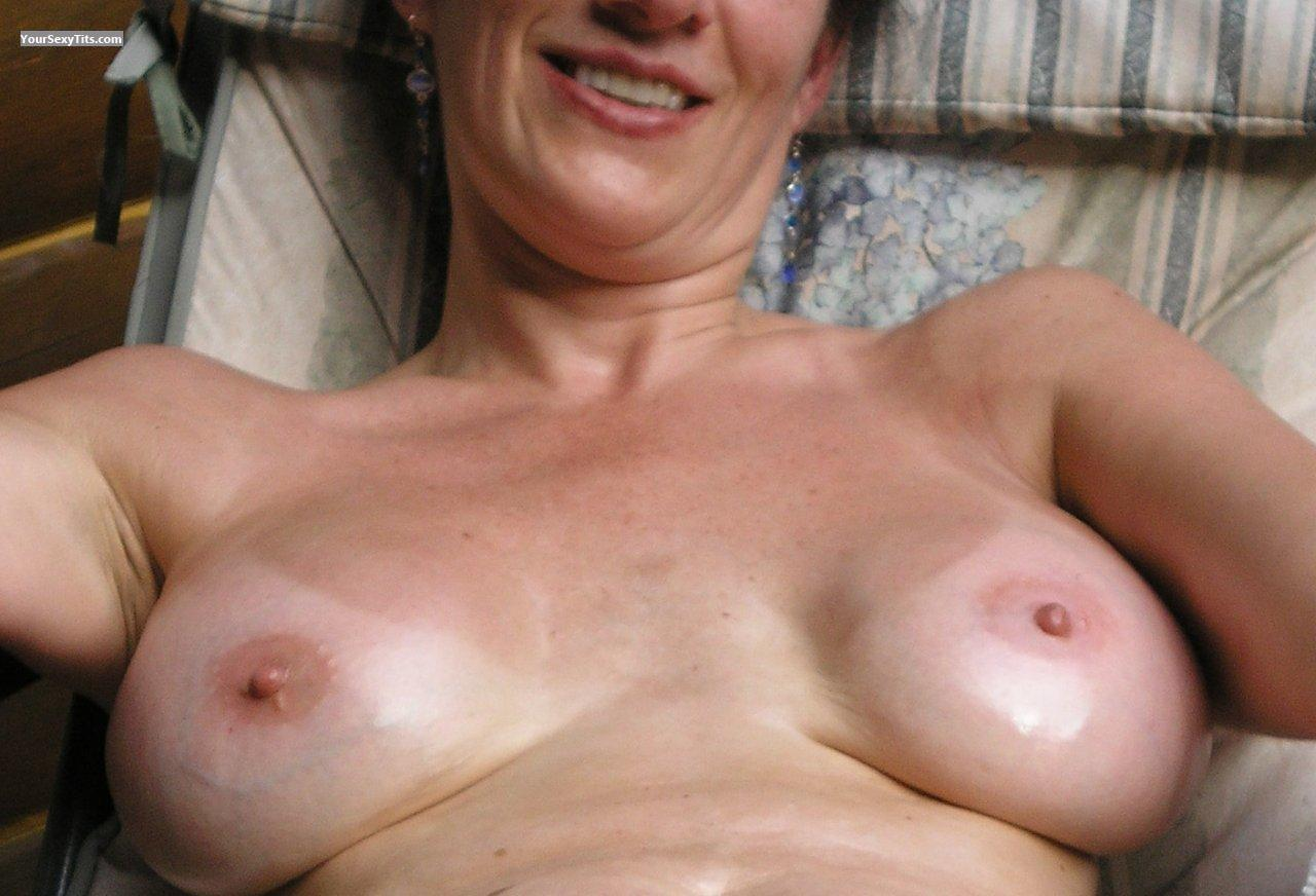 Tit Flash: Wife's Tanlined Big Tits - JB from United States