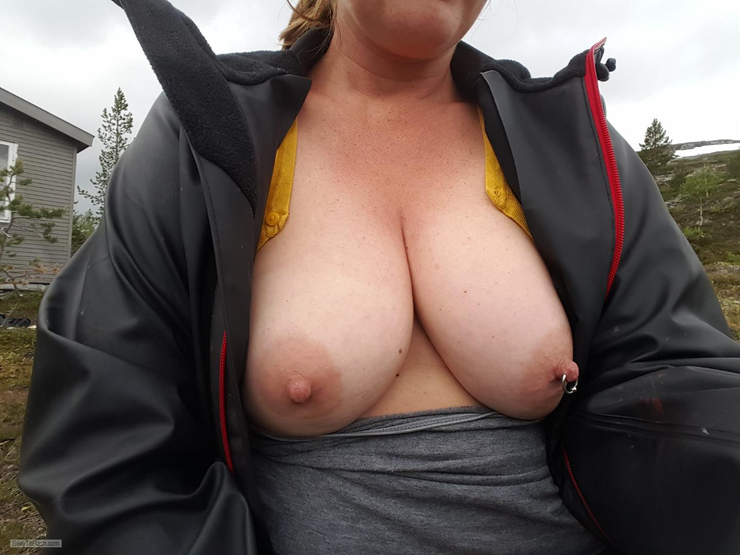 Tit Flash: My Big Tits (Selfie) - Happytits from NorwayPierced Nipples
