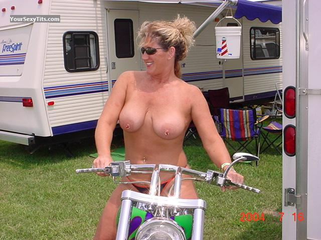 Tit Flash: Big Tits - Topless Harley from United StatesPierced Nipples