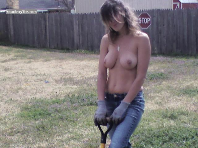 Tit Flash: Girlfriend's Medium Tits - Topless Gardening from United States