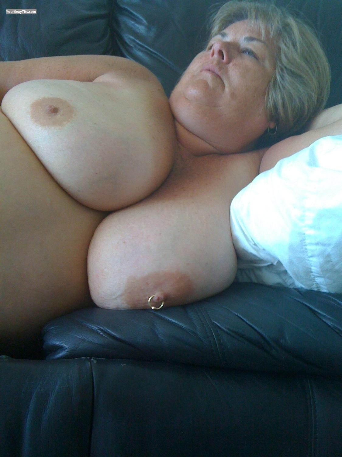 Tit Flash: Extremely Big Tits By IPhone - Topless Tjane from United StatesPierced Nipples