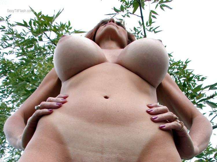 Tit Flash: My Extremely Big Tits - Topless Pam from United States