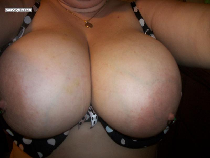 Tit Flash: My Extremely Big Tits (Selfie) - Pierced H's from United StatesPierced Nipples